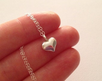 Tiny Heart Necklace in Sterling Silver -Silver Heart Necklace