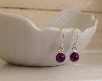 Tiny Amethyst Earrings in Sterling Silver -February Birthstone Earrings -Purple Gem Earrings