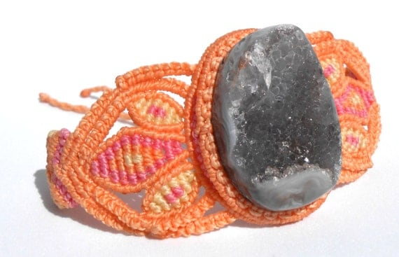 Macrame bracelet with natural quartz gem, orange, pink and yellow tones