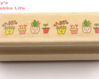 Wooden Rubber Stamp - Border Stamp Series - flower - 1 Pcs