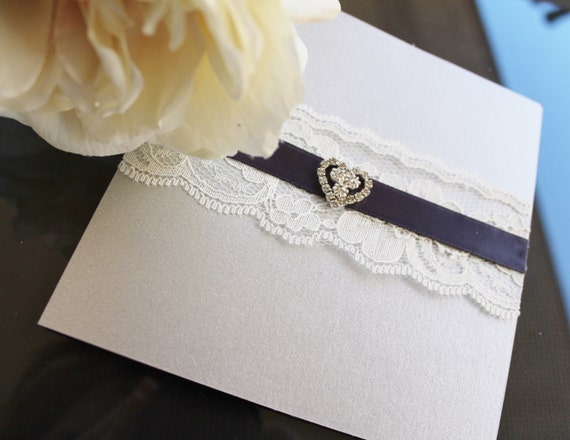 Delicate Heart Lace Wedding Invitation in Silver/Gray . Pocketfold Vintage  Invite