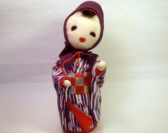 Vintage Asian Doll / Woman / Girl / Purple Red Fabric / Soft Straw / Handmade