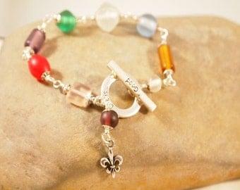 SALE Life Ia Good Glass Beads Wire Wrap Bracelet, Fleur De Lis Beaded Bracelet, OOAK Handmade Bracelet CKDesigns.US