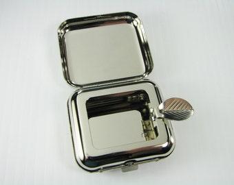 Custom Engraved Personalized High Polish Silver Portable Pocket Ashtray -Hand Engraved