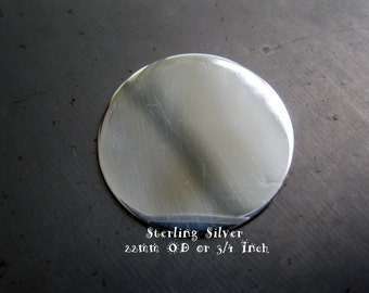 Sterling Silver Round Disc, Engraving Stamping Blank, 22mm OD or 3/4 Inch, 24 Gauge, ON SALE! 15% Off, Ready to Ship!