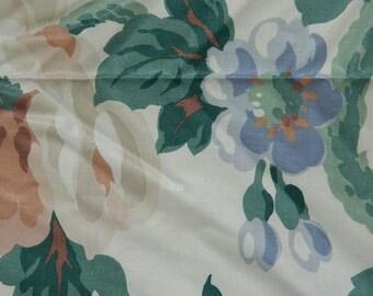 Waverly Home Decor Fabric - Polished Cotton Fabric - Floral Fabric Destash - Window Treatment Fabric - Peach and Blue Floral Home Decor