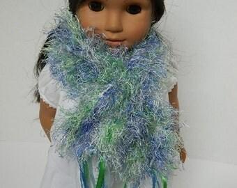 18 Inch Doll Scarf - Doll Accessory - Girls' Easter Basket Gift - Little Girls' Birthday Present - Blue Knit Fluffy Scarf for 18 Inch Doll