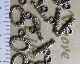 10 pairs per pack 16x12mm Medium Decorated Oval Toggle Antique Silver Finish Lead free Pewter
