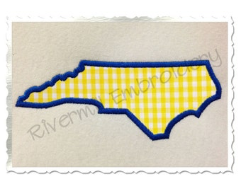 State of North Carolina Applique Machine Embroidery Design - 4 Sizes