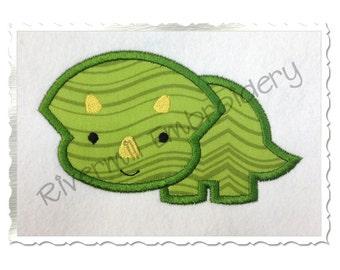 Triceratops Dinosaur Applique Machine Embroidery Design - 4 Sizes