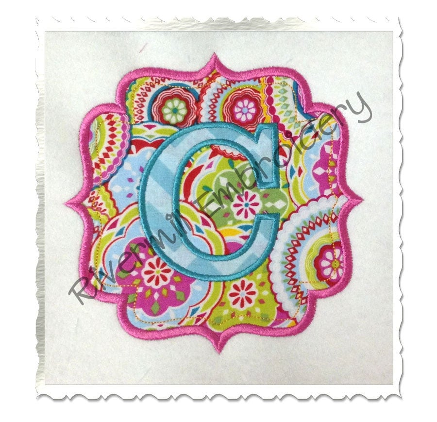 Applique name or monogram frame machine embroidery