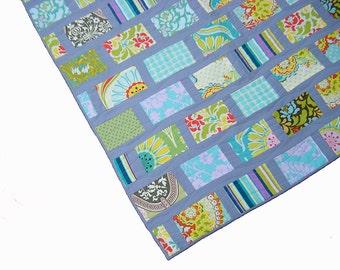 Modern baby quilt, boy quilt, crib quilt, baby blanket, patchwork quilt, nursery bedding, gender neutral, green blue yellow grey