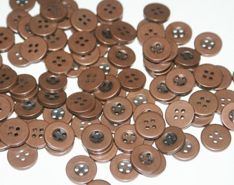 100 Copper Colored Plastic  Buttons  four hole 9/16 inch, Lot 8421
