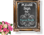 Please Sign Our Guest Book Wedding Sign, Printable Wedding Sign, Instant Download