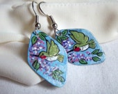 Hummingbird Dangle Earrings, Spring Colors, Wearable Art, Vibrant, Metal Dangles, Lightweight