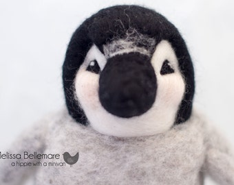 "Large Needle Felted Penguin Toy made from Natural Canadian Wool - 5.5 or 7"" made to order"