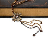 Aztec Necklace OOAK Long Bronze Black and Gold Rhinestone Pendant Beaded