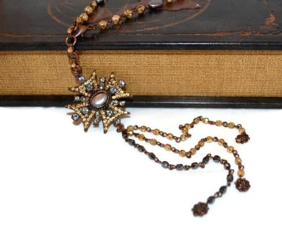 Aztec Necklace OOAK Long Bronze Black and Gold Rhinestone Pendant Beaded