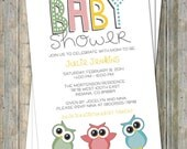 Fun Owl baby shower invitation, digital, printable file