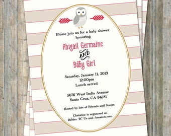 Owl baby shower invitation, red, tan, and gold, digital, printable file
