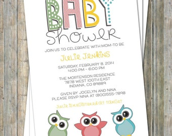 Fun Owl baby shower invitation, digital, printable file