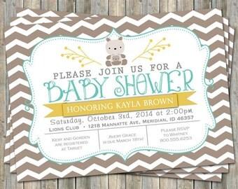 Kangaroo baby shower invitation, typography baby shower invitation, digital, printable file