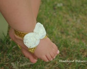 Adorable GOLD & IVORY Bow Barefoot Sandals - Baby Shoes - Frayed Chiffon Flower Sandal - Newborn Baby Photo Prop 1st Birthday Autumn Glitter