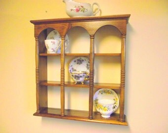 Wood 3 Tier Display Teacup & Saucer Curio Wall Shelf with Columns - Holds 9 Cups / Saucers - Plate Holder