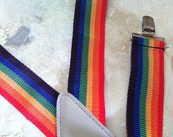 Vintage Mens Suspenders - Clip Suspenders - Vintage Suspenders for Men - Rainbow colored Novelty Suspenders for Women - Womens Suspenders