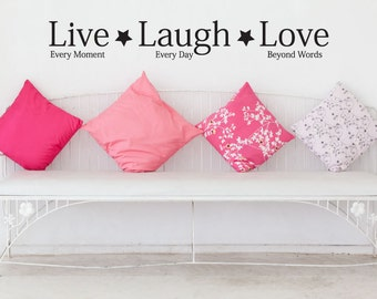 Wall Decal Quote Live, Laugh, Love 2 - Vinyl Wall Sticker - Wall Quote
