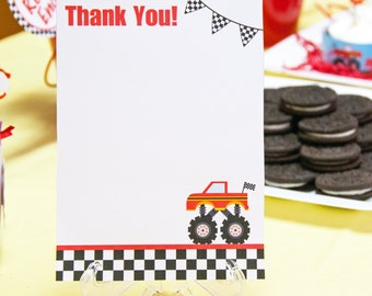 Monster Truck Birthday Party Thank You Notes (5 x 7), Instant Download, Printable, Digital
