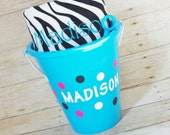 Personalized Beach Towel in a Beach Bucket - Embroidered Beach Towel Gift