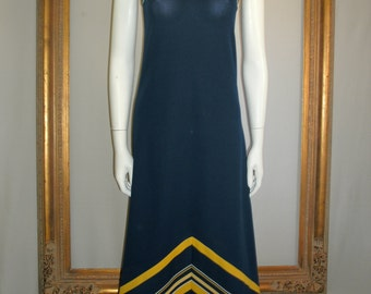 Vintage 1970's Blue and Yellow Maxi Dress - Size 2/4