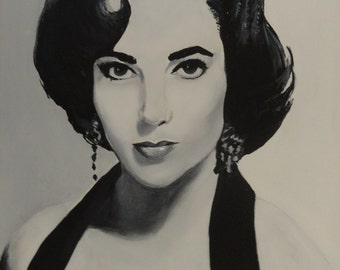 """Elizabeth Taylor - Art Print Reproduction 10"""" x 12"""" - signed by Artist"""
