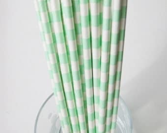 25 Paper Mint & White Ringed Straws - Free Printable Straw Flags