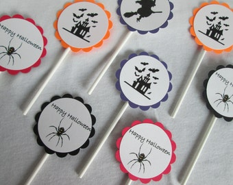 Halloween Cupcake Toppers Halloween Toppers Halloween Favors Cake Topper Halloween Decoration Baking Supplies Treat Toppers Halloween Favor