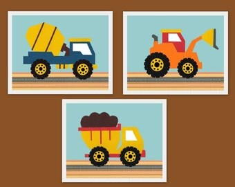 construction bedding, 8x10, truck, tractor, digger, blue, orange, yellow, brown, transportation, Nursery, children's artwork