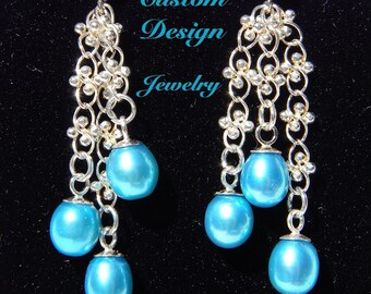 Freshwater pearl fancy sterling silver chain dangle with sterling silver post earrings
