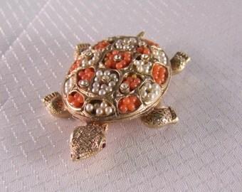 Vintage Coral and Pearl Turtle Brooch
