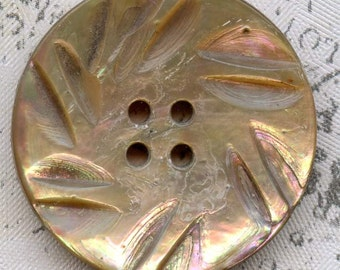 Vintage Carved Rainbow Abalone Shell Coat Button 1-1/16 inch 27mm Pinwheel Mother of Pearl MOP Sewing Button