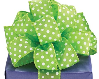"5YDS x 1-1/2"" Polka Dot Lime Green Satin Wired Edge RIBBON"