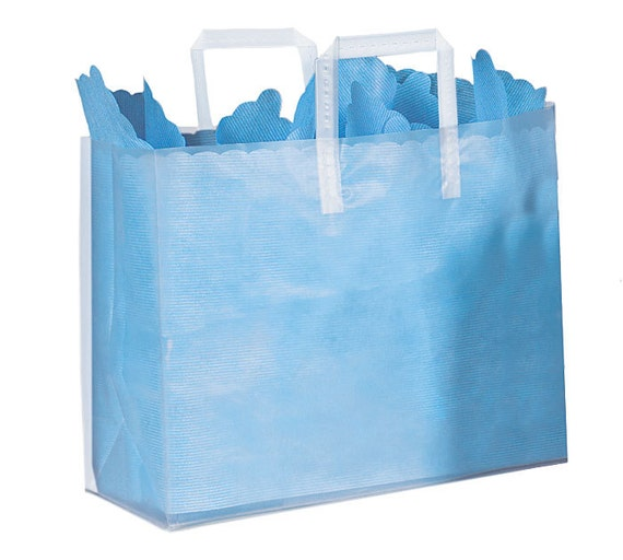 5ct large plastic clear plain frosted retail gift bags totes. Black Bedroom Furniture Sets. Home Design Ideas