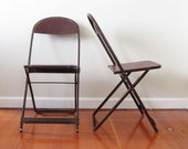 Vintage Industrial Folding Chair Pair for Compact Small Space Living