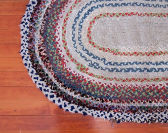 Vintage Handmade Cottage Oval Braided Rag Rug with Multi Colors 5' x 4'