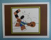 Snoopy Peanuts Hockey Goalie Card Blank or Birthday
