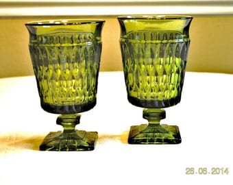2 Ice Tea Glasses by Indiana Glass Co in the Mount Vernon pattern.