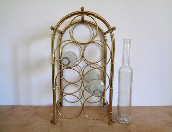 Vintage Gold Metal Brass Wine Rack Hollywood By
