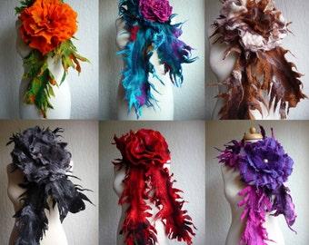 felted scarf , felted flower,handmade, felt, wrap, spiky, lagenlook, MADE TO ORDER