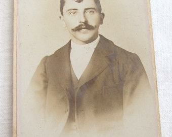 Vintage French Studio Portrait, Cabinet Card of the Late 1800's, Old Studio Portrait, Photograph of  a Young Man