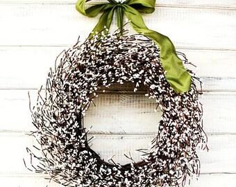 Spring Door Wreath-Wedding Decor-Scented Wreath-White Berry Wreath-Wall Hanging-Winter Wreaths-Custom Wreath-Housewarming Gift-Gift for Mom